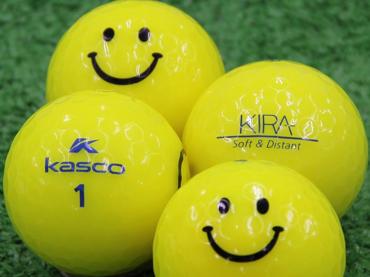 【Aランク】Kasco(キャスコ) KIRA Soft&Distant イエロー スマイルマーク入り 1個
